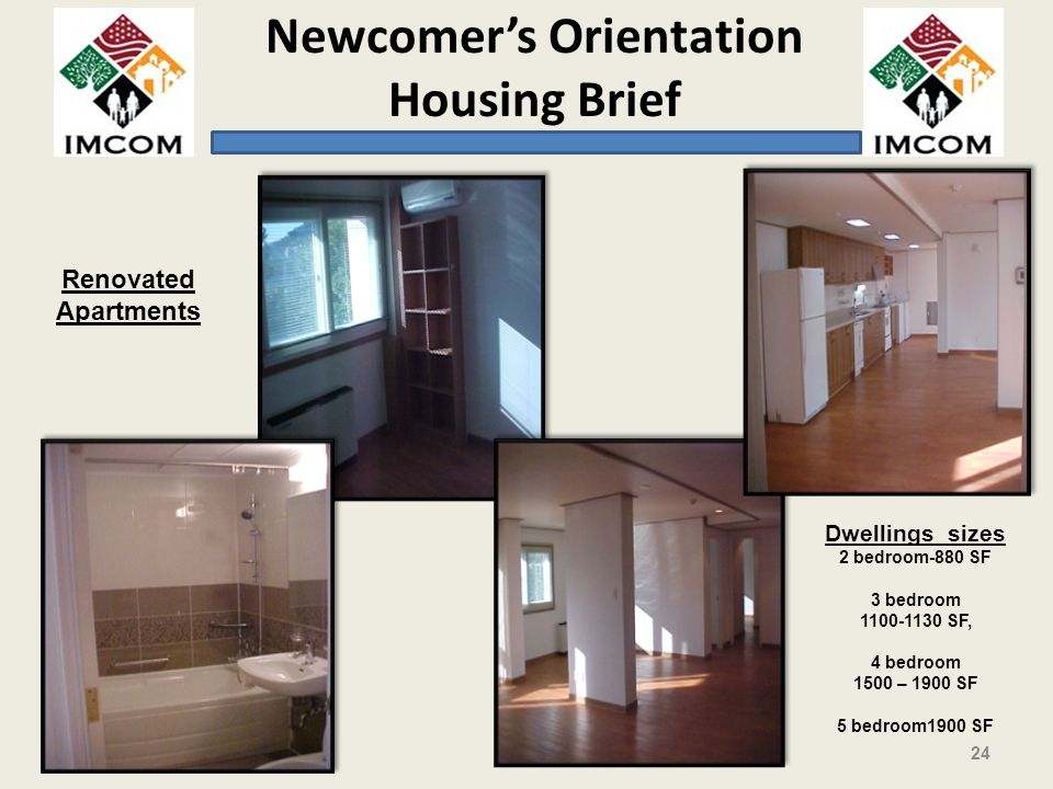 Renovated Apartments Dwellings sizes 2 bedroom-880 SF 3 bedroom