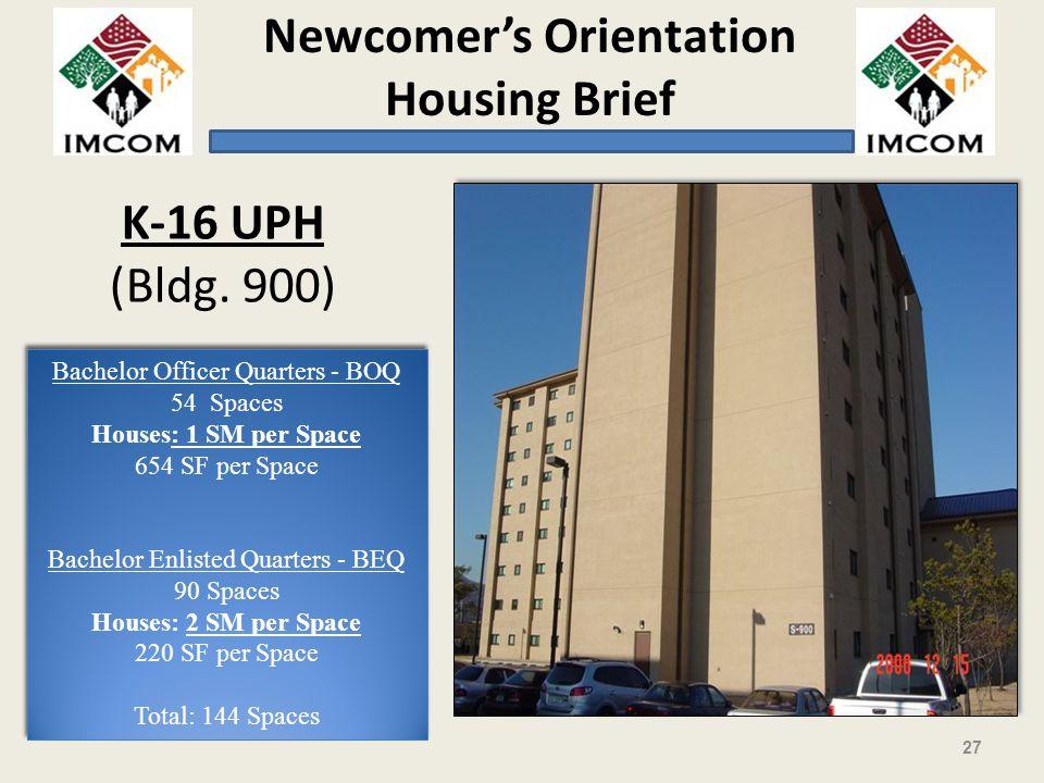 K-16 UPH (Bldg. 900) Bachelor Officer Quarters - BOQ Spaces