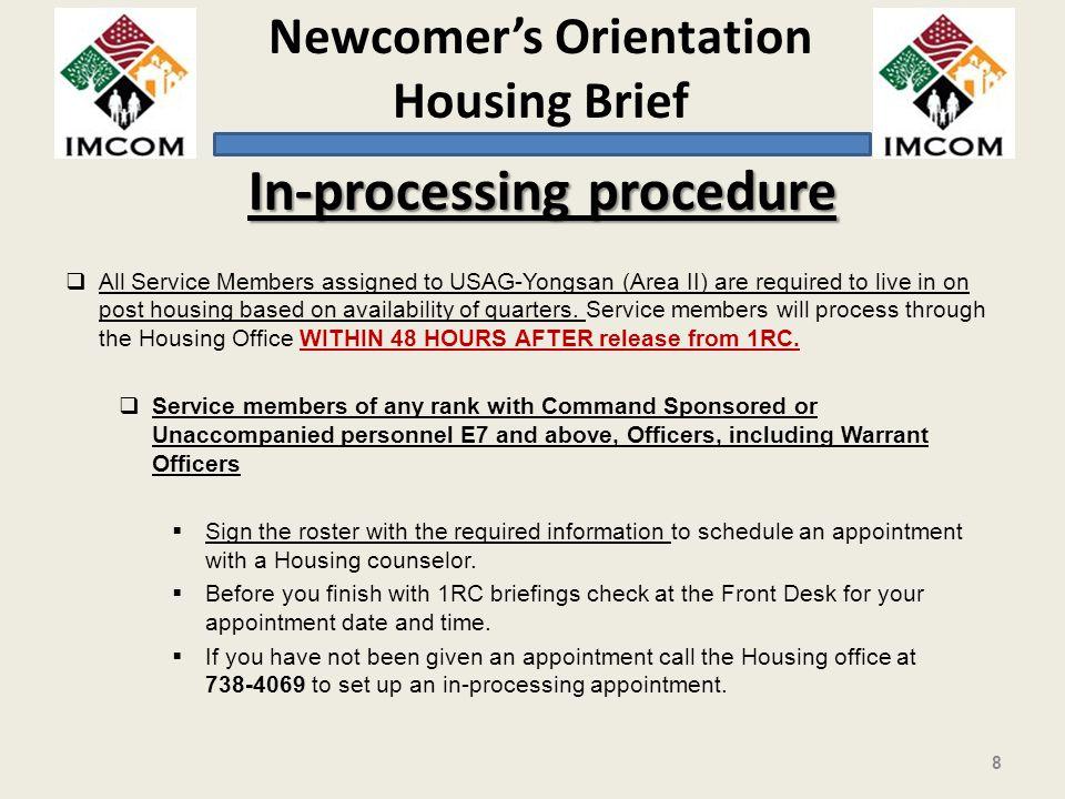 In-processing procedure