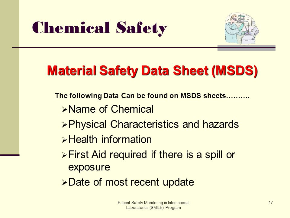 Chemical Safety Material Safety Data Sheet (MSDS) Name of Chemical