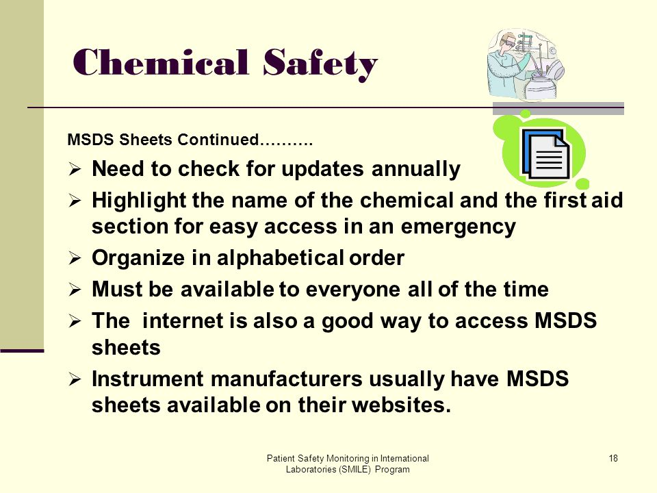 Chemical Safety Need to check for updates annually