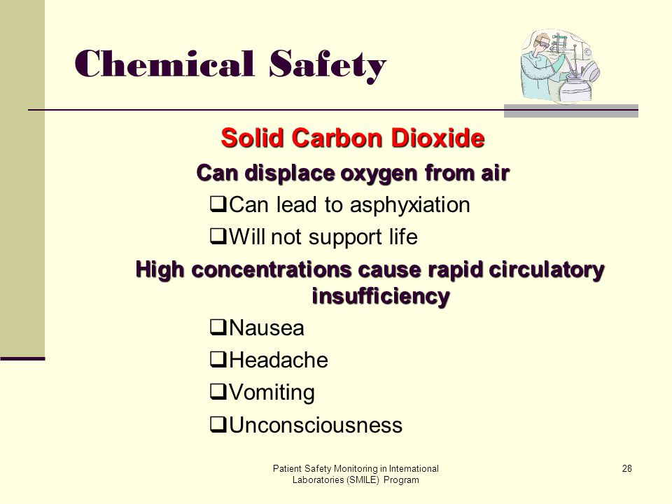 Chemical Safety Solid Carbon Dioxide Can displace oxygen from air
