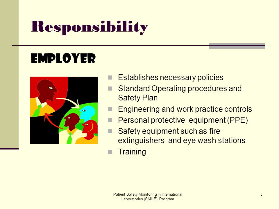 Responsibility Employer Establishes necessary policies
