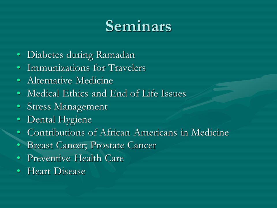 Seminars Diabetes during Ramadan Immunizations for Travelers