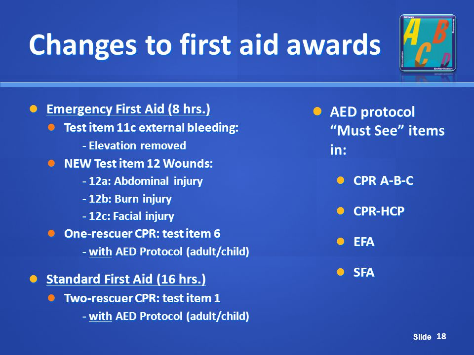 Changes to first aid awards