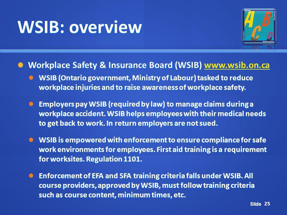 WSIB: overview Workplace Safety & Insurance Board (WSIB) www.wsib.on.ca.