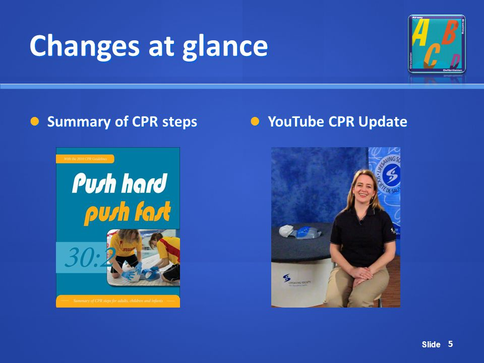 Changes at glance Summary of CPR steps YouTube CPR Update