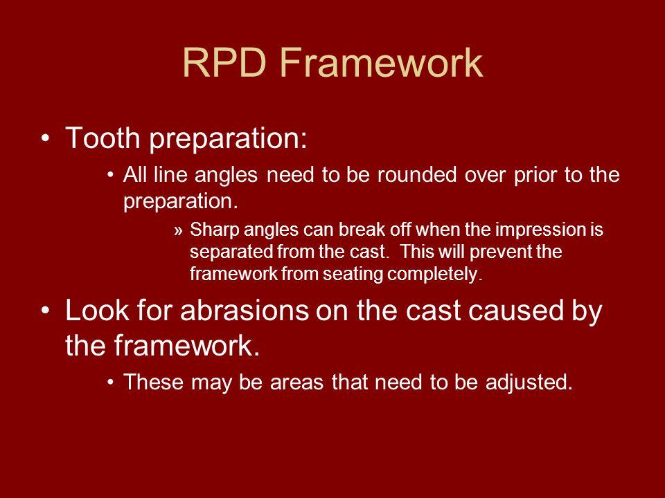 RPD Framework Tooth preparation: