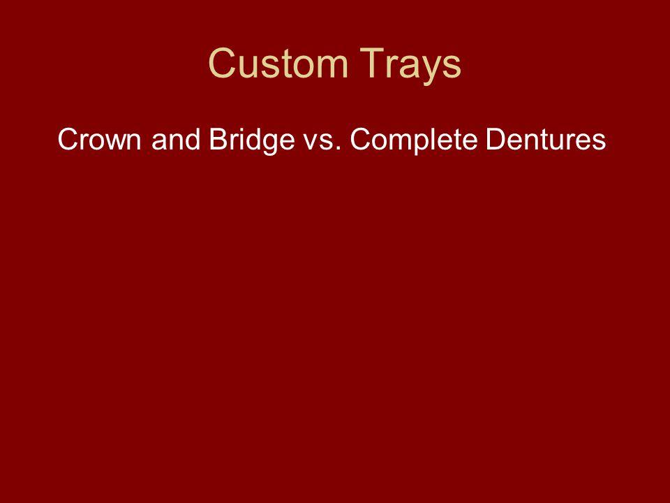 Custom Trays Crown and Bridge vs. Complete Dentures