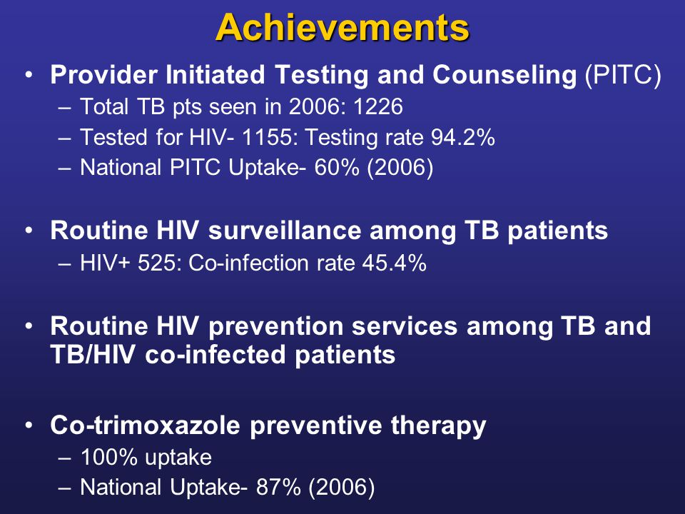 Achievements Provider Initiated Testing and Counseling (PITC)