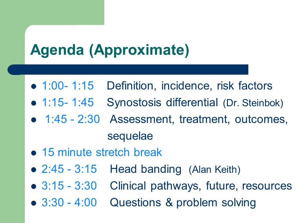 Agenda (Approximate) 1:00- 1:15 Definition, incidence, risk factors