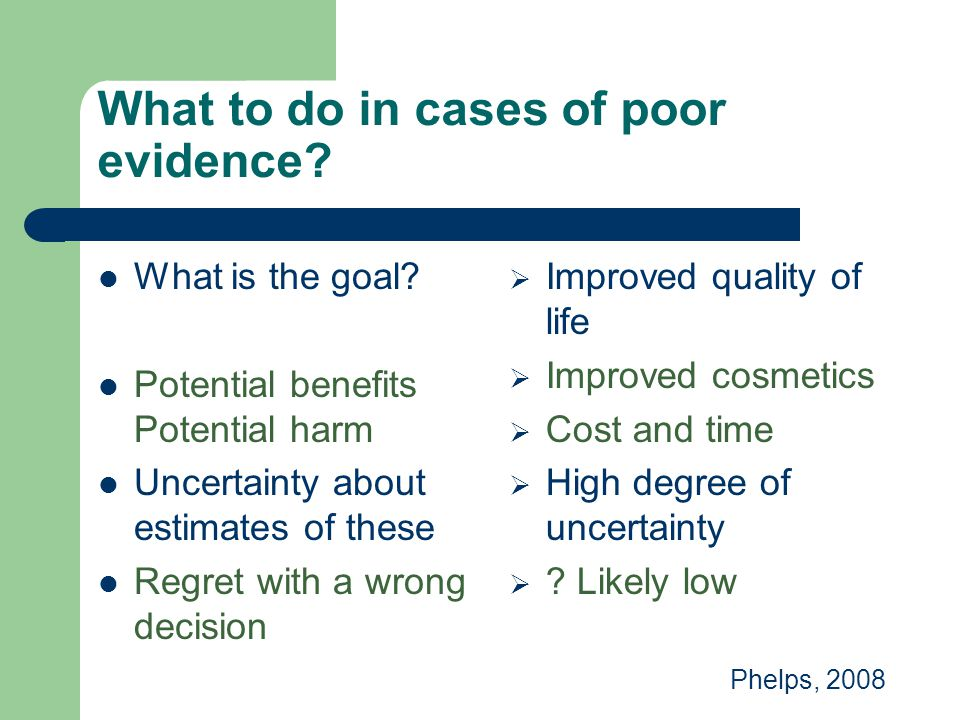 What to do in cases of poor evidence
