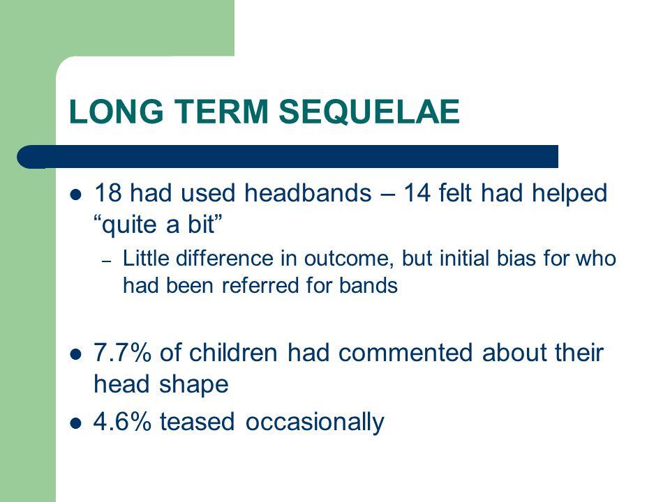 LONG TERM SEQUELAE 18 had used headbands – 14 felt had helped quite a bit
