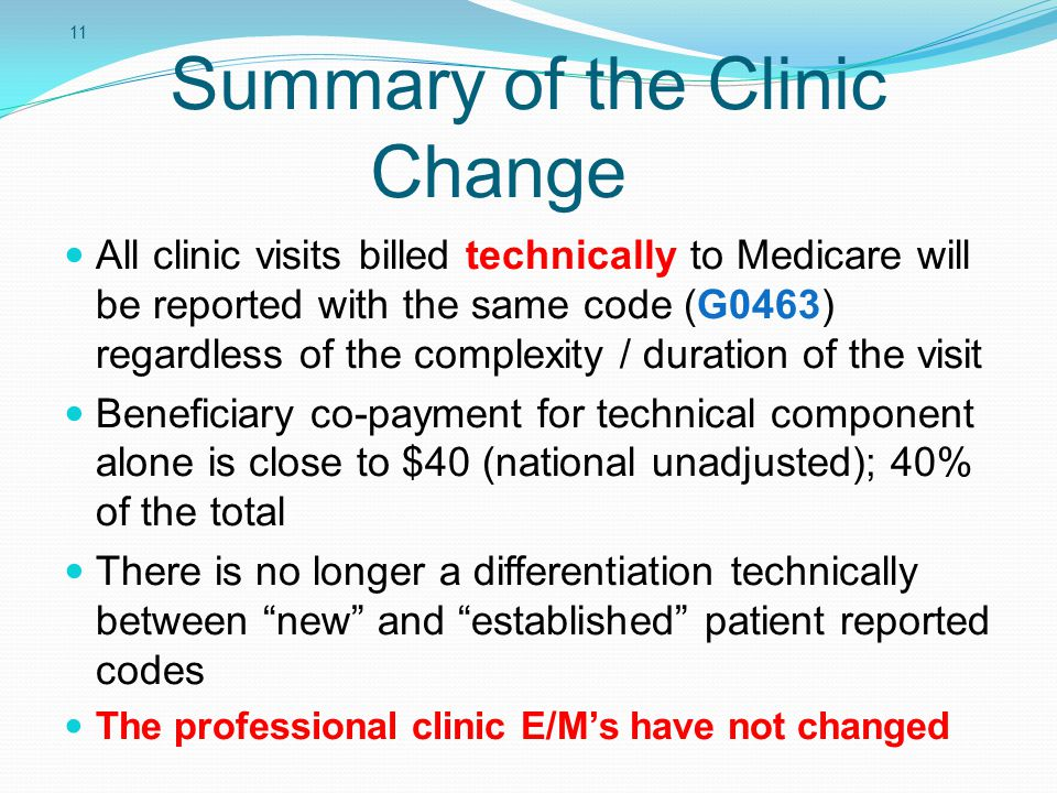 Summary of the Clinic Change