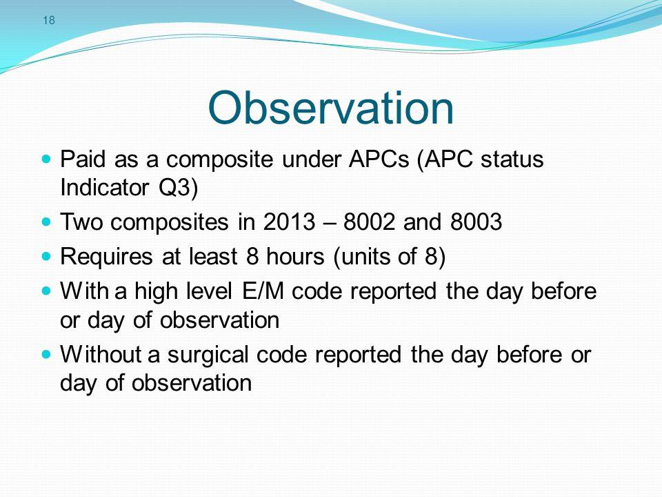 Observation Paid as a composite under APCs (APC status Indicator Q3)