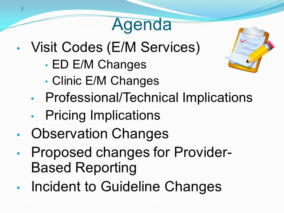 Agenda Visit Codes (E/M Services) Observation Changes