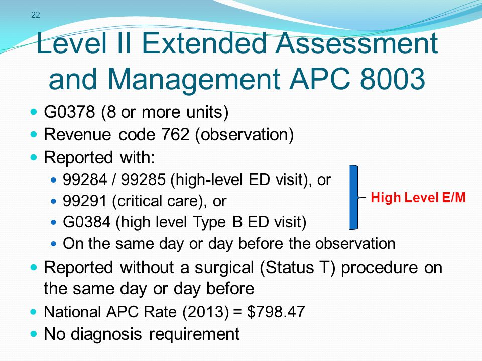 Level II Extended Assessment and Management APC 8003