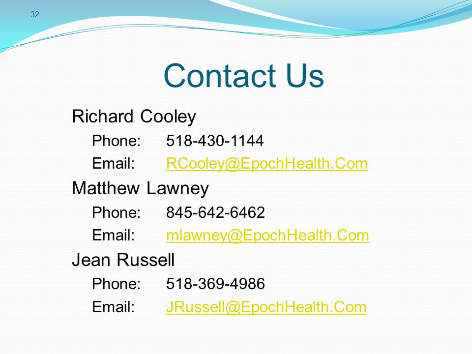 Contact Us Richard Cooley Matthew Lawney Jean Russell
