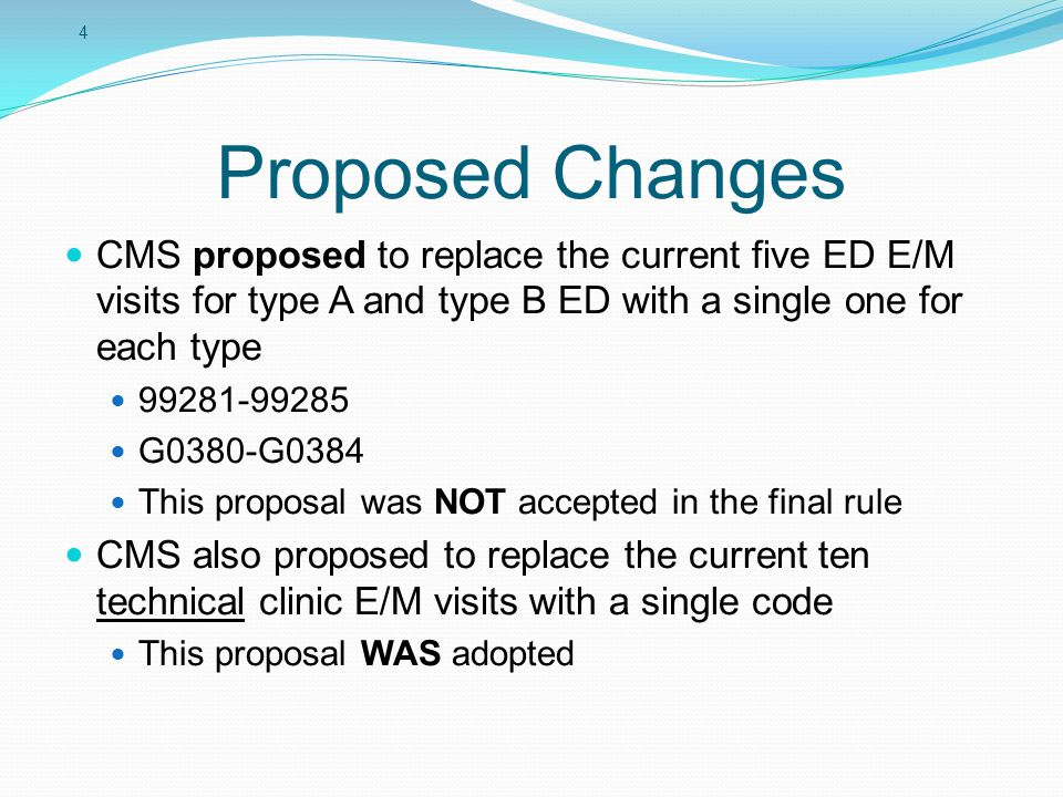 Proposed Changes CMS proposed to replace the current five ED E/M visits for type A and type B ED with a single one for each type.