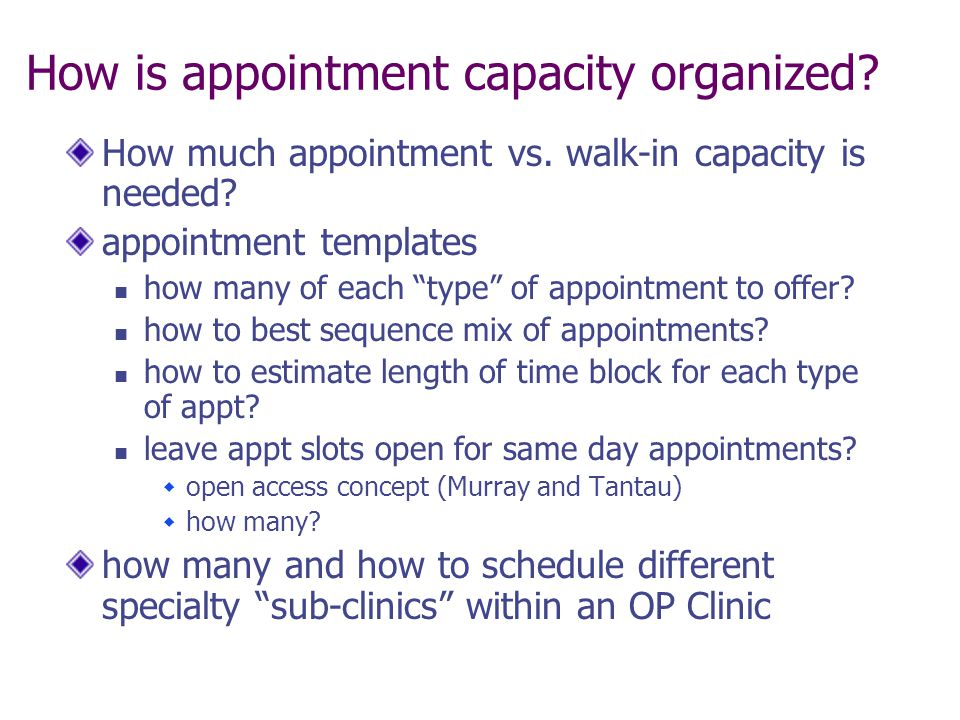 How is appointment capacity organized