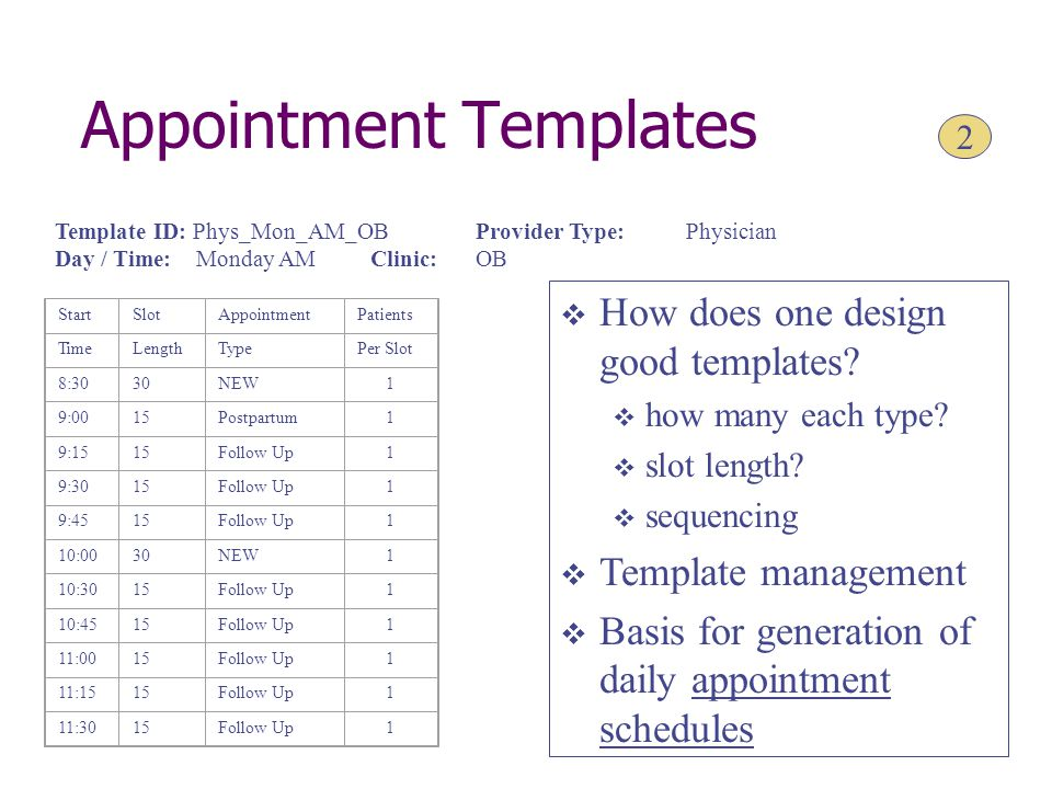 Appointment Templates