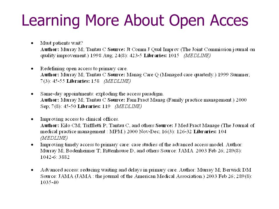Learning More About Open Acces