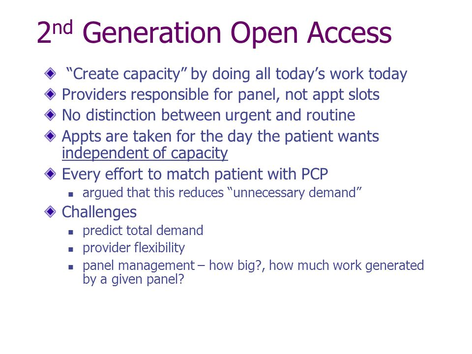 2nd Generation Open Access
