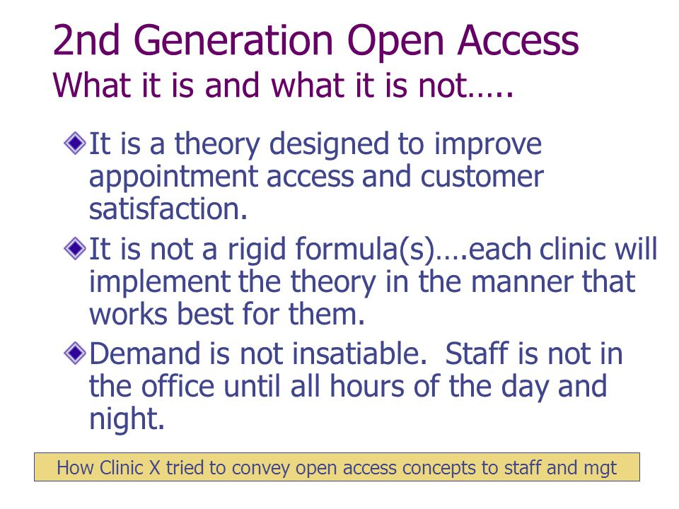 2nd Generation Open Access What it is and what it is not…..