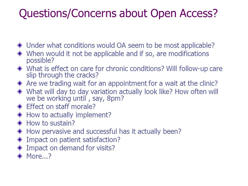 Questions/Concerns about Open Access