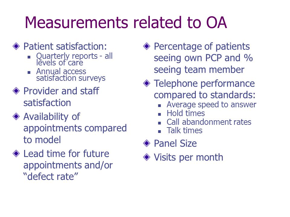 Measurements related to OA