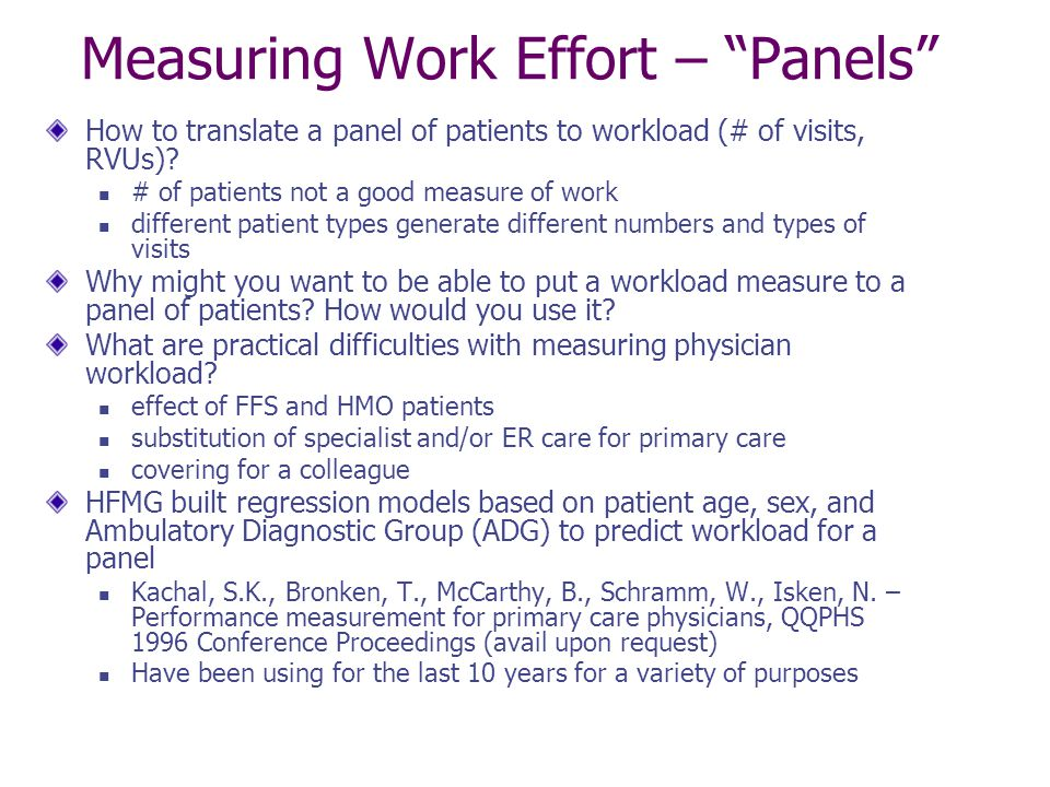Measuring Work Effort – Panels