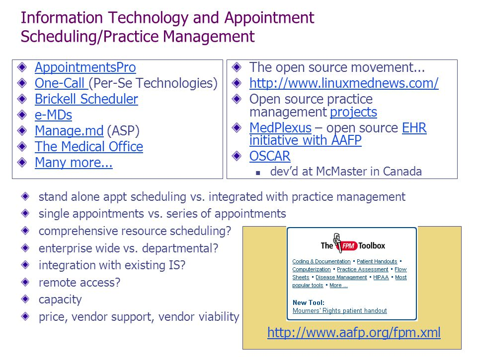 Information Technology and Appointment Scheduling/Practice Management