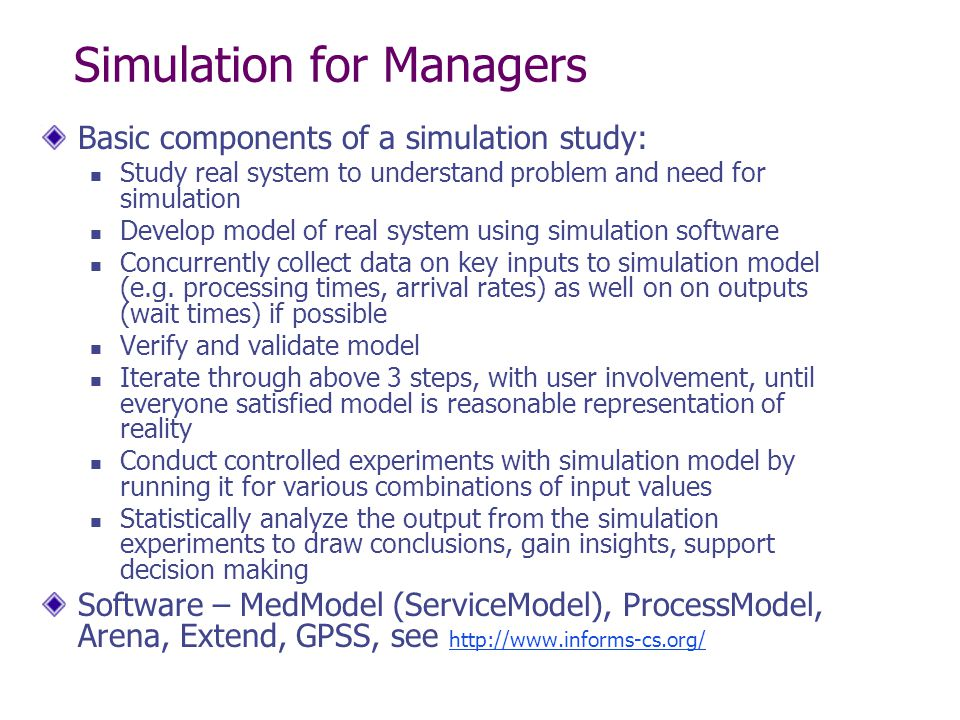 Simulation for Managers