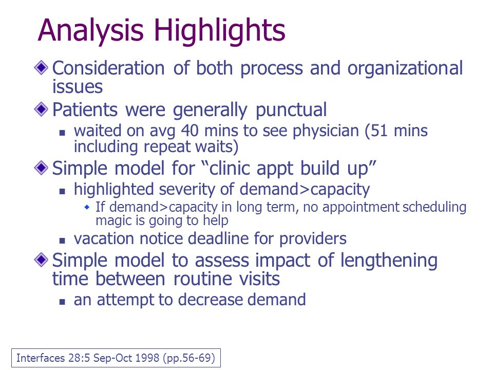 Analysis Highlights Consideration of both process and organizational issues. Patients were generally punctual.