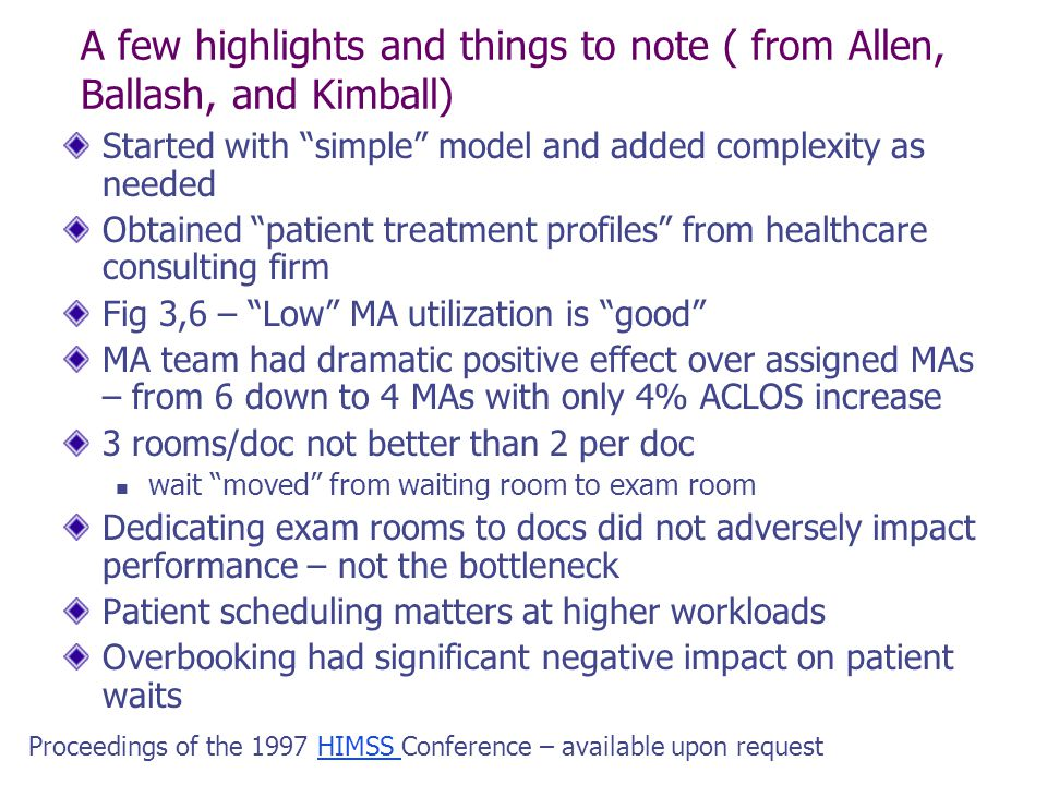 A few highlights and things to note ( from Allen, Ballash, and Kimball)