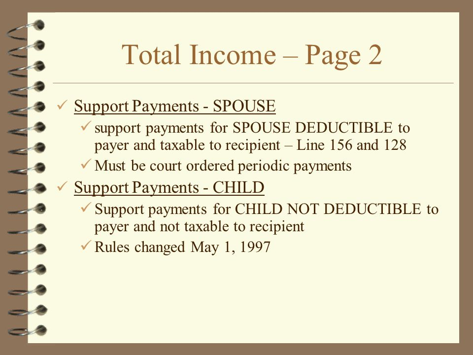 Total Income – Page 2 Support Payments - SPOUSE
