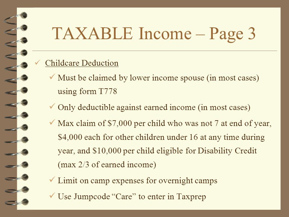 TAXABLE Income – Page 3 Childcare Deduction