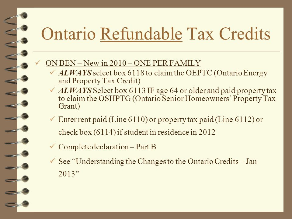Ontario Refundable Tax Credits