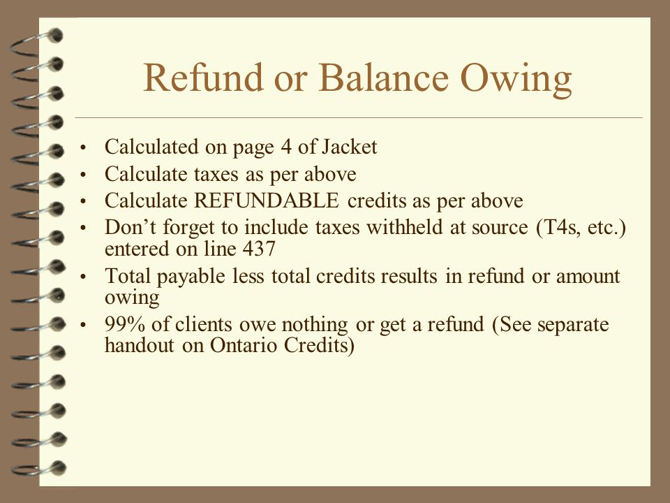 Refund or Balance Owing