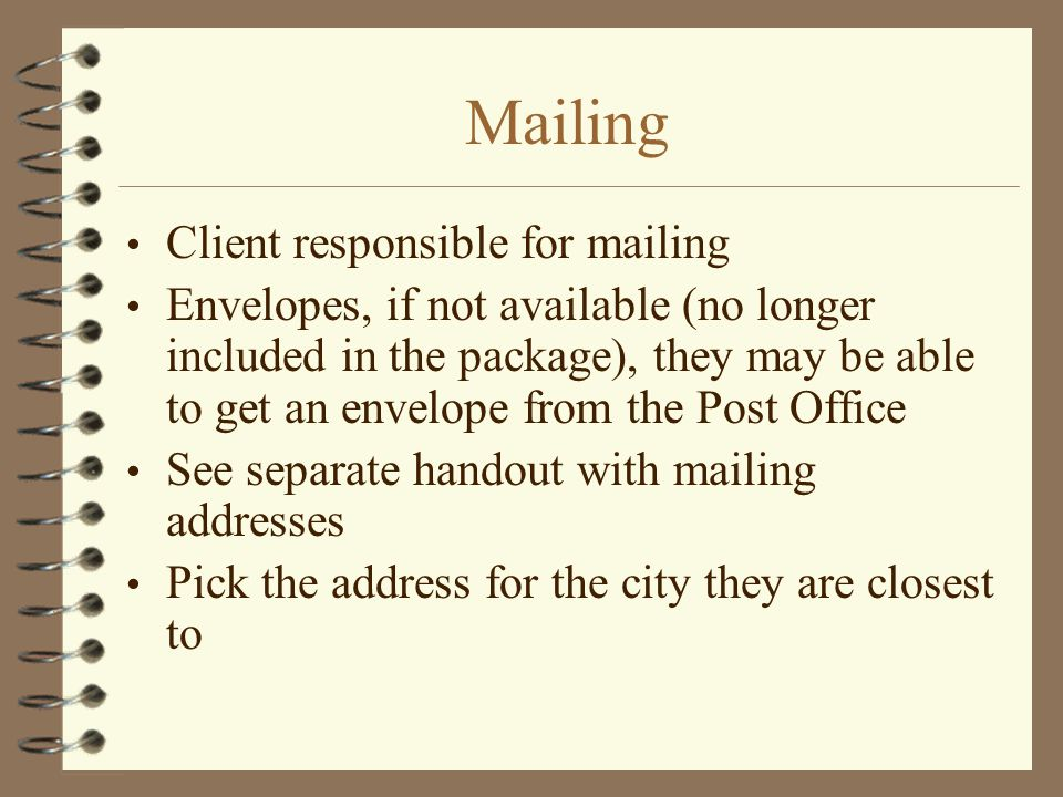 Mailing Client responsible for mailing