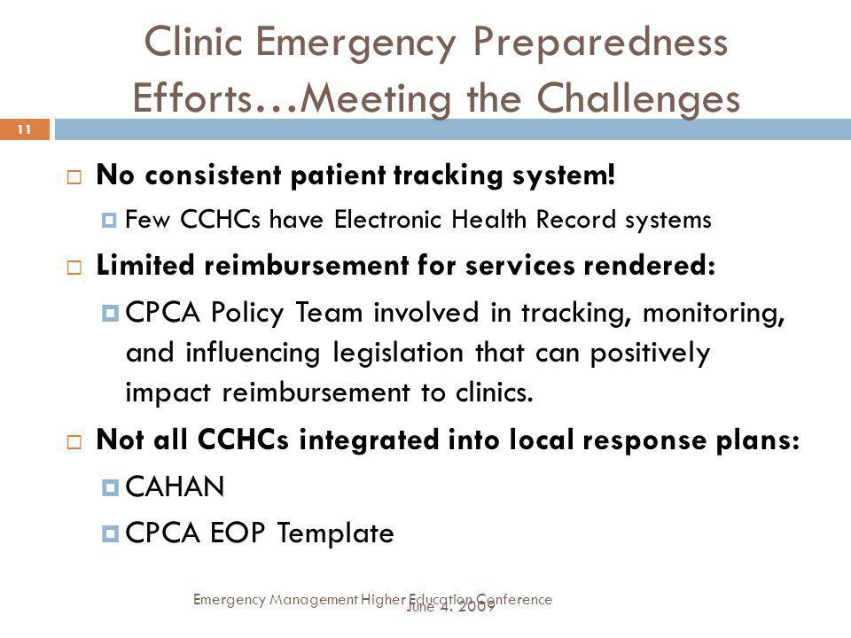Clinic Emergency Preparedness Efforts…Meeting the Challenges