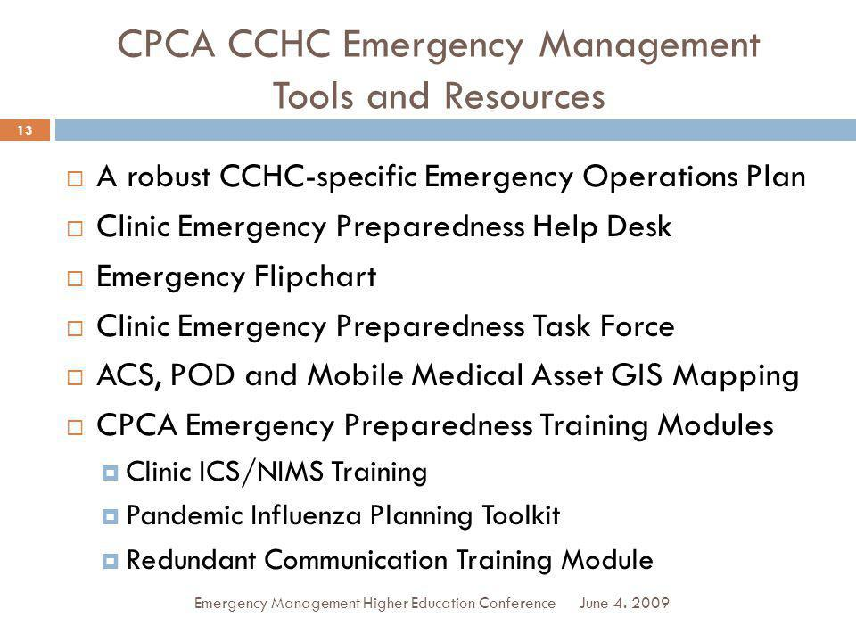CPCA CCHC Emergency Management Tools and Resources