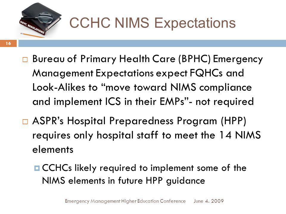 CCHC NIMS Expectations