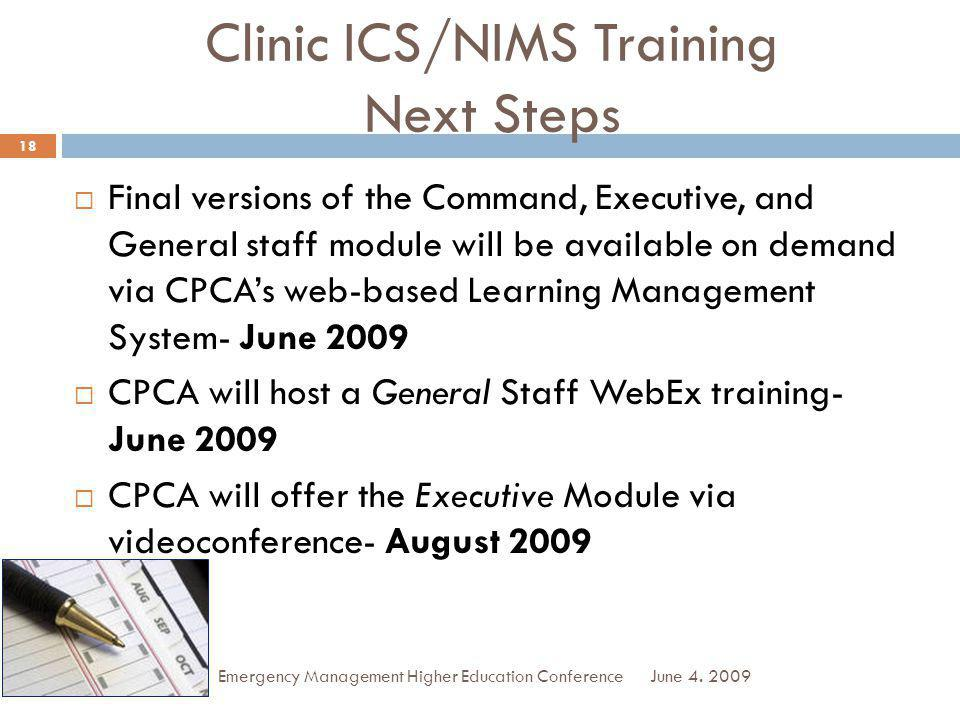 Clinic ICS/NIMS Training Next Steps