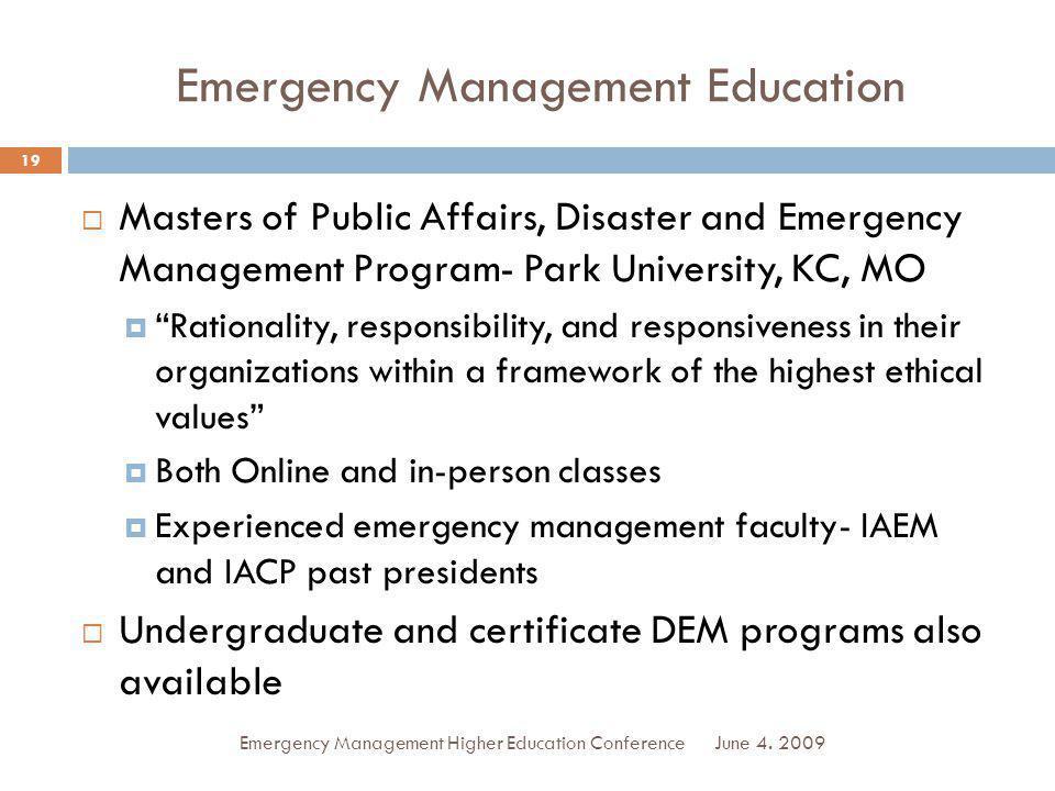 Emergency Management Education