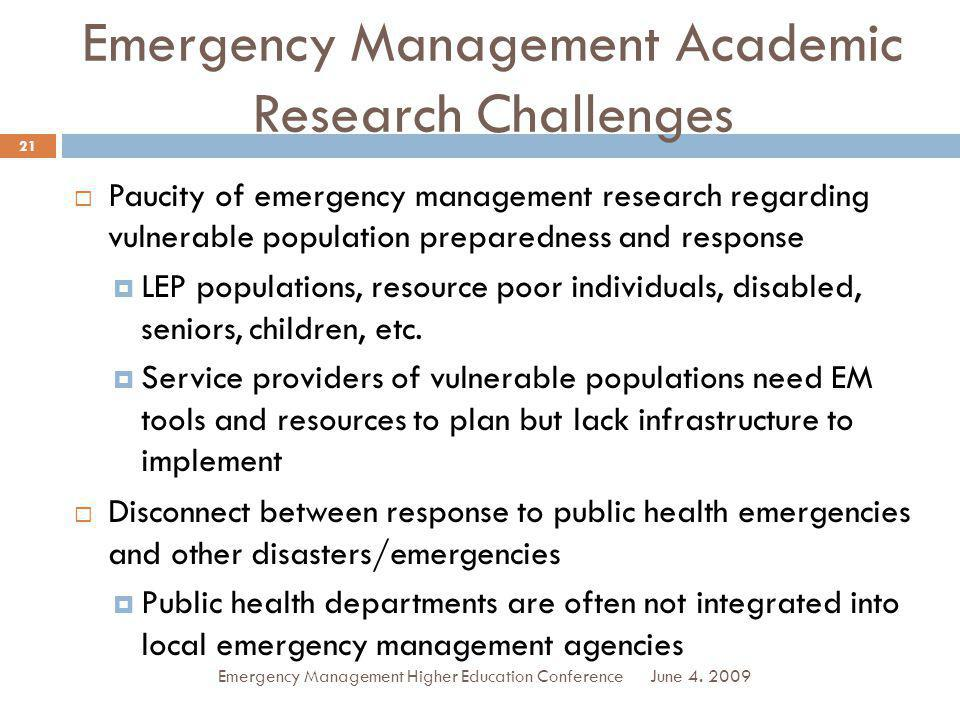 Emergency Management Academic Research Challenges