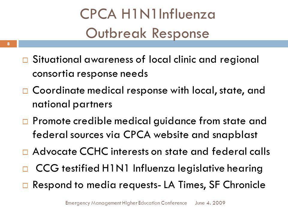 CPCA H1N1Influenza Outbreak Response