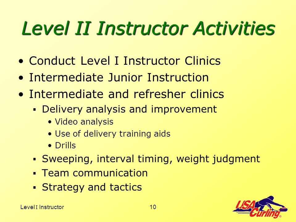 Level II Instructor Activities