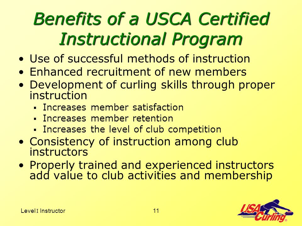 Benefits of a USCA Certified Instructional Program