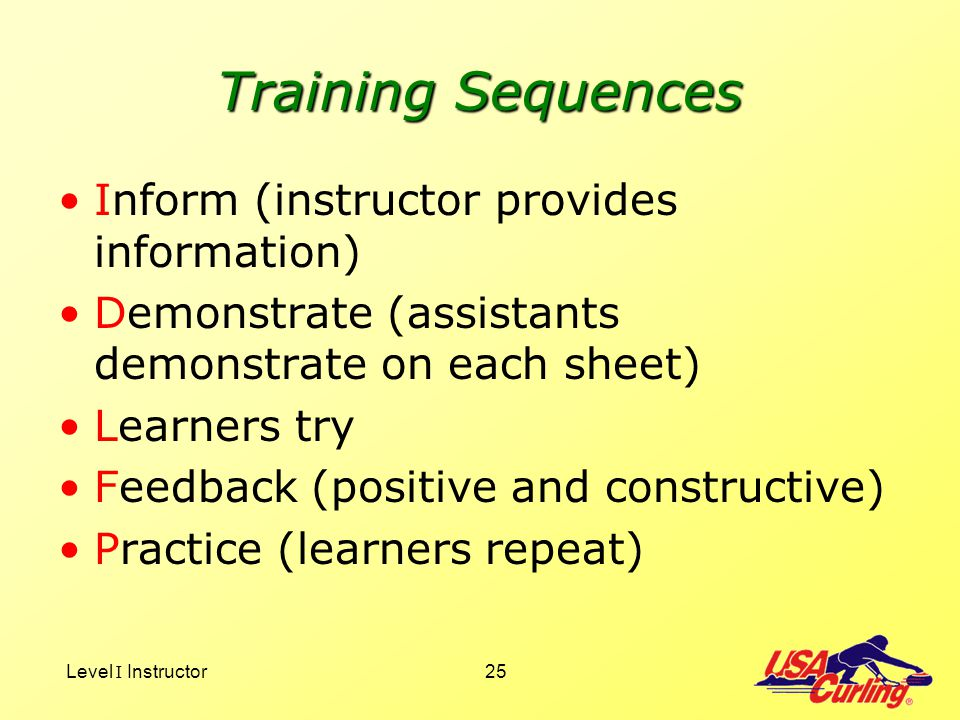 Training Sequences Inform (instructor provides information)